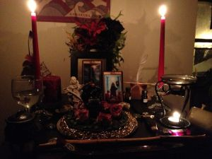 My altar that I built when I was studying the Gevurah, the Sephirot of strength, on the Tree of Life.