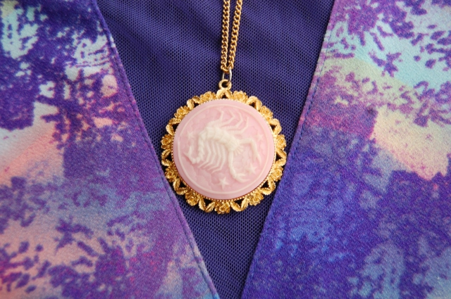 Vintage 1980s Pink Resin Scorpio Zodiac Pendant in Gold Colored Metal